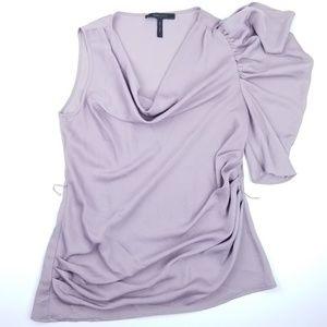 BCBG Maxazria Purple Silky Scrunch One Arm Top